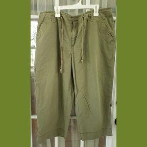Olive green wide capri pants
